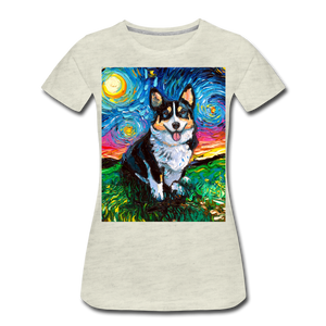 Tri-Color Corgi Night Women's Premium T-Shirt - heather oatmeal