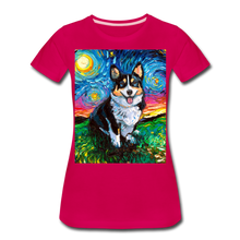 Load image into Gallery viewer, Tri-Color Corgi Night Women's Premium T-Shirt - dark pink