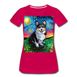 Tri-Color Corgi Night Women's Premium T-Shirt - dark pink