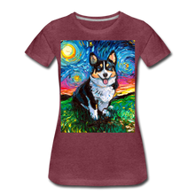 Load image into Gallery viewer, Tri-Color Corgi Night Women's Premium T-Shirt - heather burgundy