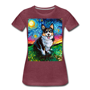 Tri-Color Corgi Night Women's Premium T-Shirt - heather burgundy