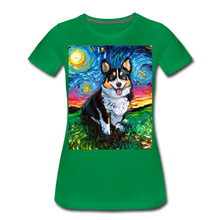 Load image into Gallery viewer, Tri-Color Corgi Night Women's Premium T-Shirt - kelly green