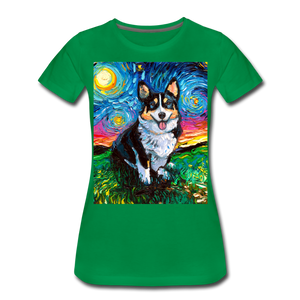 Tri-Color Corgi Night Women's Premium T-Shirt - kelly green