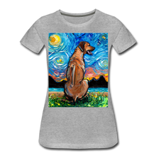 Load image into Gallery viewer, Rhodesian Ridgeback Night Women's Premium T-Shirt - heather gray