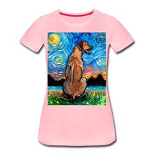 Load image into Gallery viewer, Rhodesian Ridgeback Night Women's Premium T-Shirt - pink