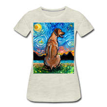 Load image into Gallery viewer, Rhodesian Ridgeback Night Women's Premium T-Shirt - heather oatmeal