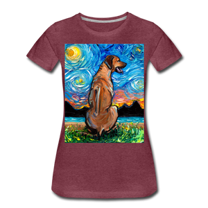 Rhodesian Ridgeback Night Women's Premium T-Shirt - heather burgundy