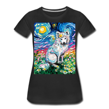 Load image into Gallery viewer, Samoyed Primrose Night Women's Premium T-Shirt - black