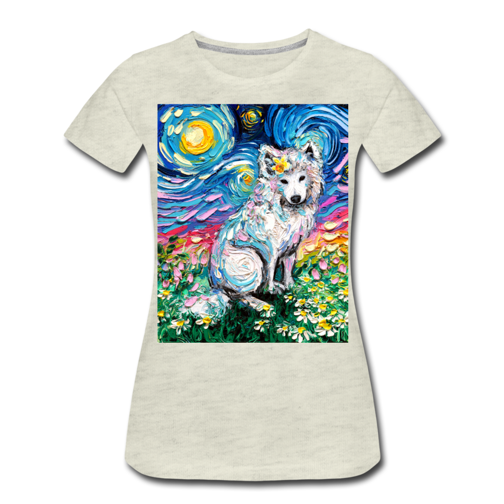 Samoyed Primrose Night Women's Premium T-Shirt - heather oatmeal