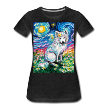 Load image into Gallery viewer, Samoyed Primrose Night Women's Premium T-Shirt - charcoal gray