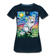 Load image into Gallery viewer, Samoyed Primrose Night Women's Premium T-Shirt - deep navy