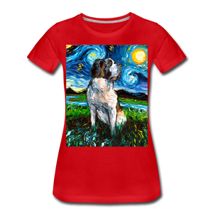 Saint Bernard Night Women's Premium T-Shirt - red
