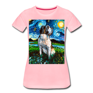 Saint Bernard Night Women's Premium T-Shirt - pink