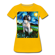 Load image into Gallery viewer, Saint Bernard Night Women's Premium T-Shirt - sun yellow