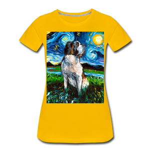 Saint Bernard Night Women's Premium T-Shirt - sun yellow