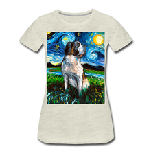Load image into Gallery viewer, Saint Bernard Night Women's Premium T-Shirt - heather oatmeal