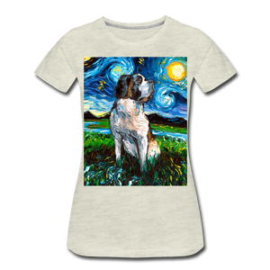 Saint Bernard Night Women's Premium T-Shirt - heather oatmeal