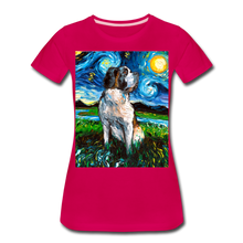 Load image into Gallery viewer, Saint Bernard Night Women's Premium T-Shirt - dark pink