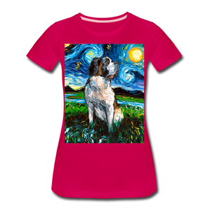 Saint Bernard Night Women's Premium T-Shirt - dark pink
