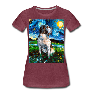 Saint Bernard Night Women's Premium T-Shirt - heather burgundy