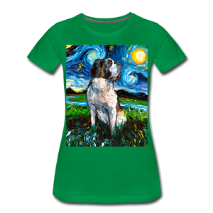 Saint Bernard Night Women's Premium T-Shirt - kelly green