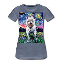Load image into Gallery viewer, Westie Night 2 Women's Premium T-Shirt - heather blue