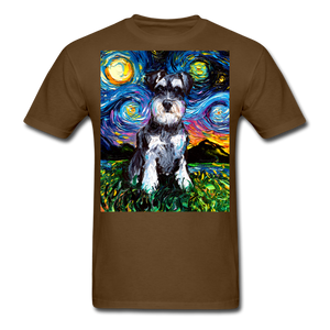 Schnauzer Night Unisex Classic T-Shirt - brown