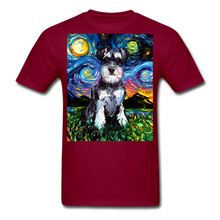 Load image into Gallery viewer, Schnauzer Night Unisex Classic T-Shirt - burgundy