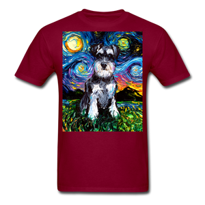 Schnauzer Night Unisex Classic T-Shirt - burgundy