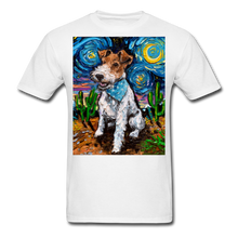 Load image into Gallery viewer, Wire Hair Fox Terrier Night Unisex Classic T-Shirt - white