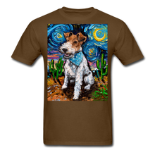 Load image into Gallery viewer, Wire Hair Fox Terrier Night Unisex Classic T-Shirt - brown