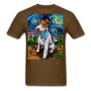 Wire Hair Fox Terrier Night Unisex Classic T-Shirt - brown
