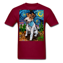 Load image into Gallery viewer, Wire Hair Fox Terrier Night Unisex Classic T-Shirt - burgundy