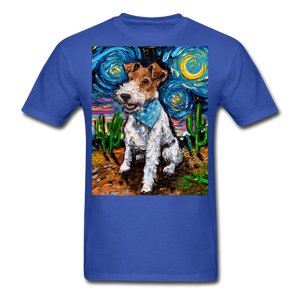 Wire Hair Fox Terrier Night Unisex Classic T-Shirt - royal blue