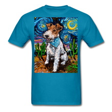 Load image into Gallery viewer, Wire Hair Fox Terrier Night Unisex Classic T-Shirt - turquoise