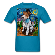 Wire Hair Fox Terrier Night Unisex Classic T-Shirt - turquoise