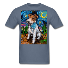 Load image into Gallery viewer, Wire Hair Fox Terrier Night Unisex Classic T-Shirt - denim