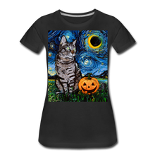 Load image into Gallery viewer, Tabby Halloween Women's Premium T-Shirt - black