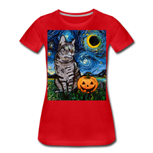 Load image into Gallery viewer, Tabby Halloween Women's Premium T-Shirt - red
