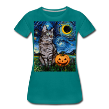 Load image into Gallery viewer, Tabby Halloween Women's Premium T-Shirt - teal
