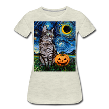 Load image into Gallery viewer, Tabby Halloween Women's Premium T-Shirt - heather oatmeal