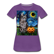 Load image into Gallery viewer, Tabby Halloween Women's Premium T-Shirt - purple