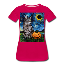 Load image into Gallery viewer, Tabby Halloween Women's Premium T-Shirt - dark pink