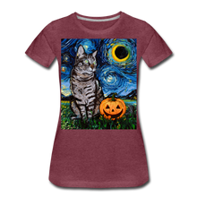 Load image into Gallery viewer, Tabby Halloween Women's Premium T-Shirt - heather burgundy
