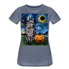 Load image into Gallery viewer, Tabby Halloween Women's Premium T-Shirt - heather blue