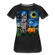 Load image into Gallery viewer, Tabby Halloween Women's Premium T-Shirt - charcoal gray