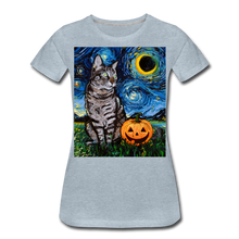Load image into Gallery viewer, Tabby Halloween Women's Premium T-Shirt - heather ice blue