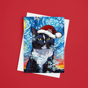 Tuxedo Cat Night Christmas Greeting Card