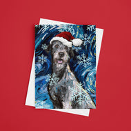 Irish Wolfhound Night, Christmas Greeting Card