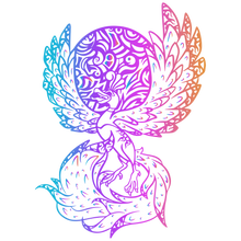 Load image into Gallery viewer, Ancient Glowing Rainbow Fire Phoenix Soft Enamel Pin